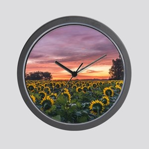 Kansas Sunflower Sunrise Wall Clock