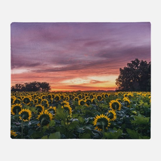 Kansas Sunflower Sunrise Throw Blanket