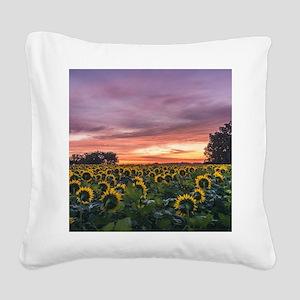 Kansas Sunflower Sunrise Square Canvas Pillow