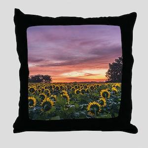 Kansas Sunflower Sunrise Throw Pillow