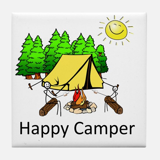 Cute Happy camper Tile Coaster