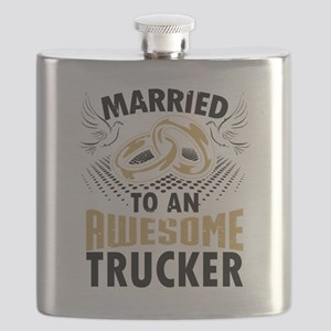 Married To An Awesome Trucker Flask