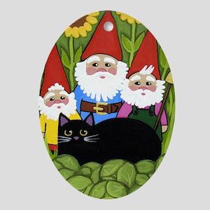 Garden Gnomes & Black Cat Oval Ornament