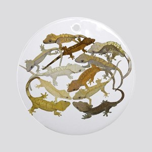 Crested Gecko Round Ornament
