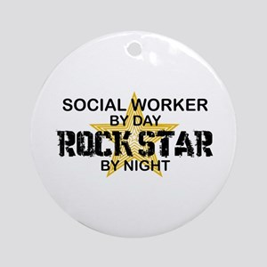 Social Worker Rock Star Ornament (Round)