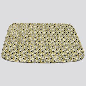 Black and Yellow Daisy on White Bathmat