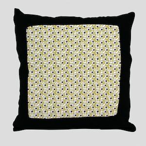 Black and Yellow Daisy on White Throw Pillow