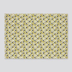 Black and Yellow Daisy on White 5'x7'Area Rug