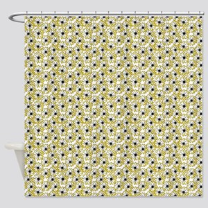 Black and Yellow Daisy on White Shower Curtain