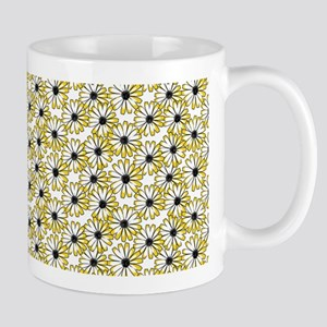 Black and Yellow Daisy on White Mugs