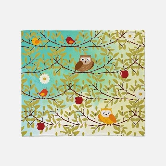 Autumn birds Throw Blanket