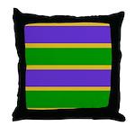 Mardi Gras Stripes Throw Pillow