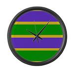 Mardi Gras Stripes Large Wall Clock