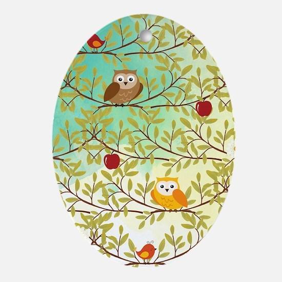 Autumn birds Oval Ornament