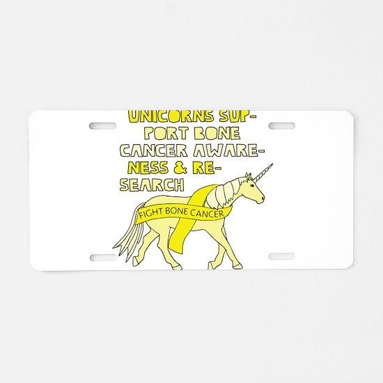 Unicorns Support Bone Cance Aluminum License Plate