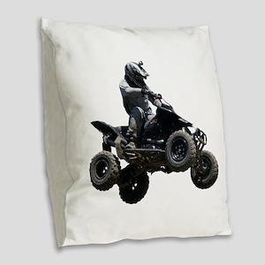 Black Quad Burlap Throw Pillow