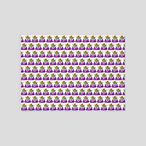 Princess Crown Rainbow Emoji Poop 5'x7'Area Rug