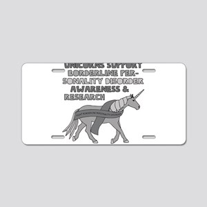 Unicorns Support Borderline Aluminum License Plate