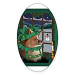 Cutest Christmas Dog Oval Sticker