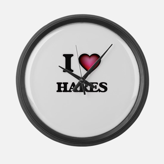 I love Hares Large Wall Clock