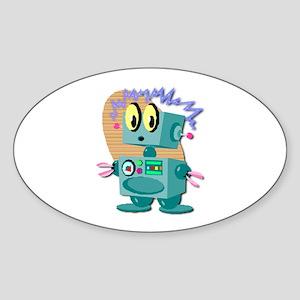 Retro Robot Oval Sticker