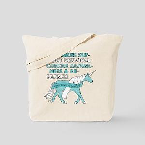 Unicorns Support Cervical Cancer Awarenes Tote Bag