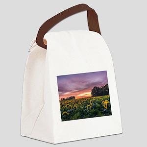 Kansas Sunflower Sunrise Canvas Lunch Bag