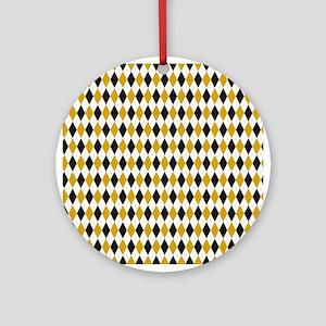 Black and Yellow Argyle Diamond Pattern Round Orna
