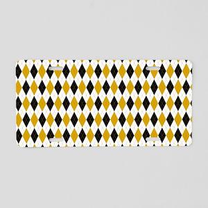 Black and Yellow Argyle Diamond Pattern Aluminum L