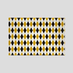 Black and Yellow Argyle Diamond Pattern Magnets