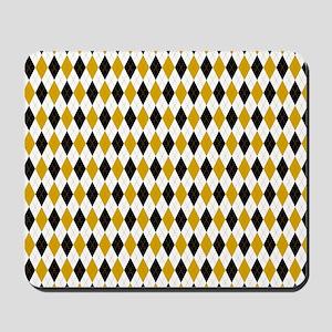 Black and Yellow Argyle Diamond Pattern Mousepad
