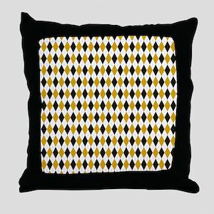 Black and Yellow Argyle Diamond Pattern Throw Pill