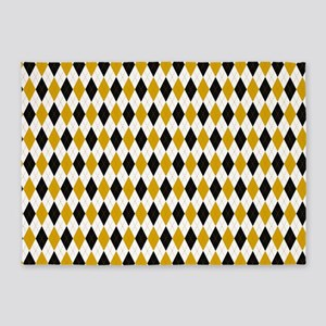 Black and Yellow Argyle Diamond Pattern 5'x7'Area