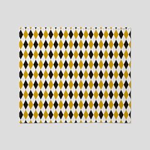 Black and Yellow Argyle Diamond Pattern Throw Blan
