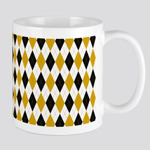 Black and Yellow Argyle Diamond Pattern Mugs