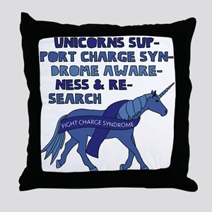 Unicorns Support Charge Syndrome Awar Throw Pillow