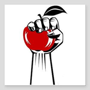 "Revolution Apple Square Car Magnet 3"" x 3"""