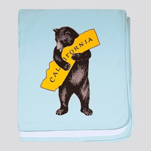 Vintage California Bear Hug Illustrat baby blanket