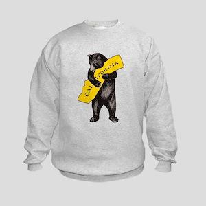 Vintage California Bear Hug Illust Kids Sweatshirt