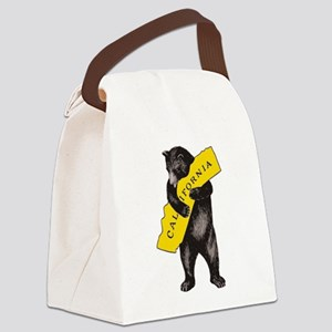 Vintage California Bear Hug Illus Canvas Lunch Bag