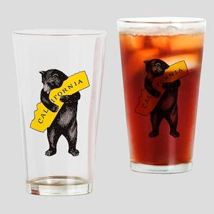 Vintage California Bear Hug Illustr Drinking Glass