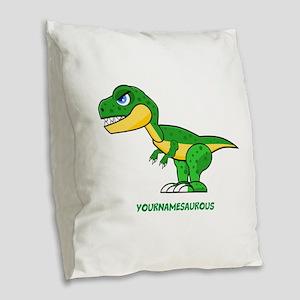 T-rex personalized Burlap Throw Pillow