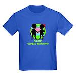 Stop Global Warming Kids Dark T-Shirt