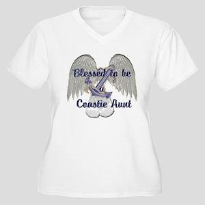 Blessed Coastie Aunt Women's Plus Size V-Neck T-Sh