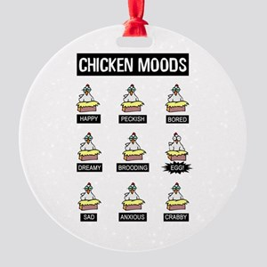 Chicken Moods Round Ornament