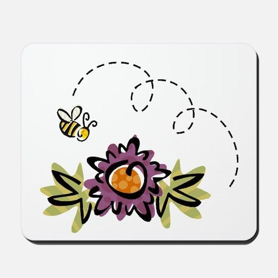 BEE & PURPLE FLOWER Mousepad