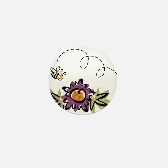 BEE & PURPLE FLOWER Mini Button