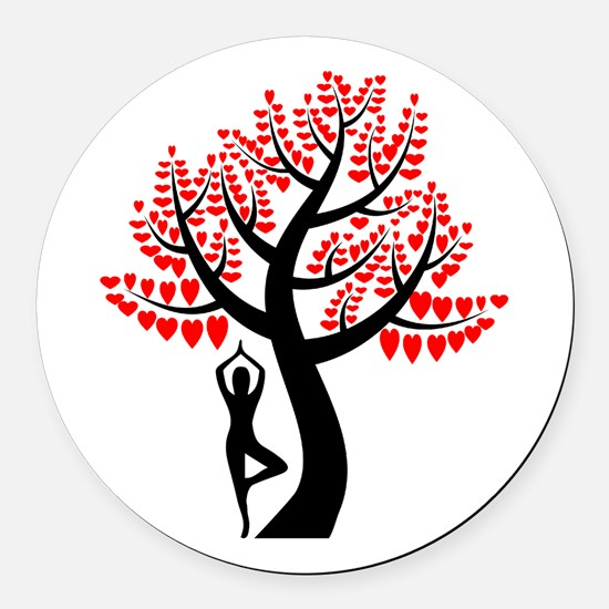Heart Tree Round Car Magnet