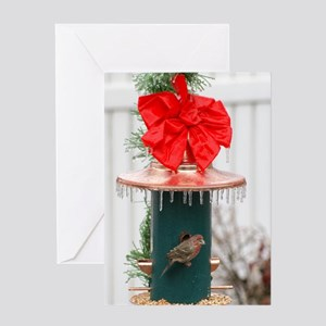 Icy Birdfeeder Christmas Card