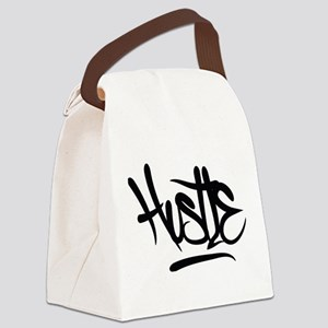 Hustle Typography Canvas Lunch Bag